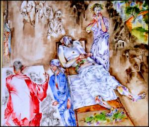 La dormizione di Rembrandt van Rijn, aquerella, firmata