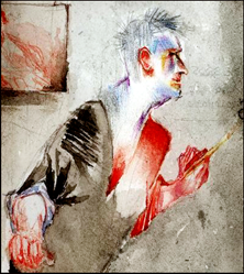 Self portrait of Matthew Moss_watercolour_detail