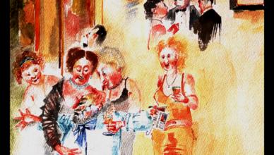 Cat#12 Art groupies embrace Rembrandt, celebrity.